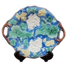 ETRUSCAN Griffin Smith Hill Bright INDIGO Flower MAJOLICA Cake Plate w/Handles