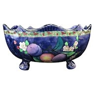 Ronda Ware Footed ART DECO Peaches & Plums MAJOLICA Fruit Bowl Bright & Colorful