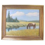 Original Oregon Artist Verne TOSSEY Western Landscape HORSE Oil Painting