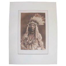 Edward S Curtis PHOTOGRAVURE 1900 Native American WEASEL TAIL Piegan Tomahawk