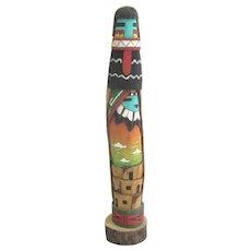 "HOPI Totem KACHINA Doll South West Native American 14"" Wood Carving"