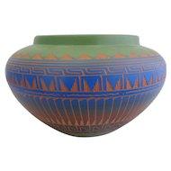 Large Colorful Native American NAVAJO Signed Cynthia L Pottery Vase Planter Pot