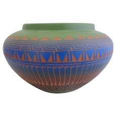 Large Colorful Native American NAVAJO Signed Cynthia L Pottery Vase Planter Pot