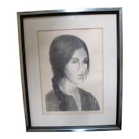 Raphael SOYER Signed Limited Edition LITHOGRAPH of Young Girl with Braid