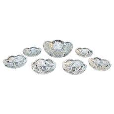 UNGER 7pc Clear Brilliant Cut Glass SERVING Bowl Set