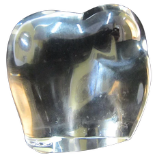 BACCARAT France Clear Glass Crystal ELEPHANT Desk Paperweight Sculpture Figurine