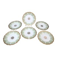 LIMOGES France Green GOLD GILT Flower Dessert Salad 8 3/4 Plate Set of 6