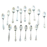 EXCEPTIONAL Random 16pc Lot of Antique STERLING Silver Teaspoon Coffee Spoon