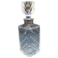 Antique 19th Century STERLING Silver Thick Cut Glass SPIRITS Booze Decanter