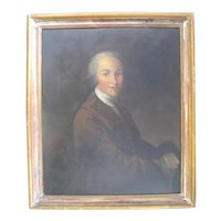 Antique 19th Century PORTRAIT Handsome Gentleman MAN Framed Painting