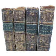 1765 DON QUIXOTE 4 Volumes Complete ILLUSTRATED Hayman Third Edition Leather London