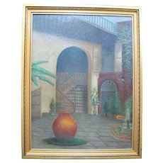 PAUL STOTTS Signed Original COURTYARD w/Jug & Fountain Framed Painting