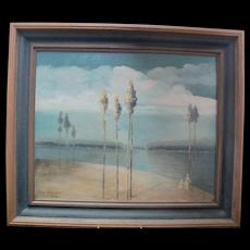 PAUL STOTTS c1928 Signed Original COASTAL Trees Oil Painting Woman & Child