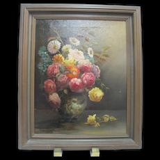 PAUL STOTTS c1928 Framed Signed Oil Painting Still Life of FLOWERS in Vase