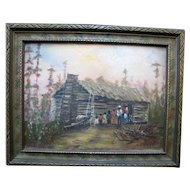 PAUL STOTTS Signed Original Black Americana Folk Art Family Cabin Oil Painting