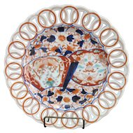 Hand Painted Japanese IMARI Pierced Dish Plate with FAN & Floral Design 10