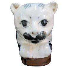 "Japanese Porcelain IMARI 12"" Blue & White Lounging Mustache CAT Statue"
