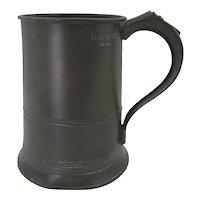 VICTORIAN 19th Century 1 Quart Manchester England Pewter TANKARD Beer Mug