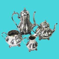 VICTORIAN Silverplate 4pc Coffee Pot Teapot Creamer Sugar Service Sheffield Set