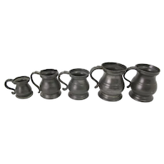 Antique 1800's William IV VICTORIAN Pewter Tavern Tankard Set of 5 Sizes