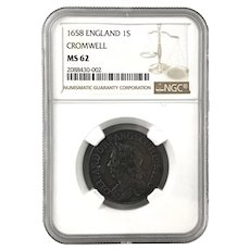CROMWELL 1658 England SHILLING Graded NGC MS62 Uncirculated Scarce Coin
