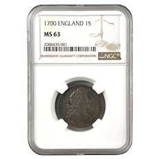 WILLIAM III 1700 England One Shilling Graded MS 63 Select Choice Uncirculated