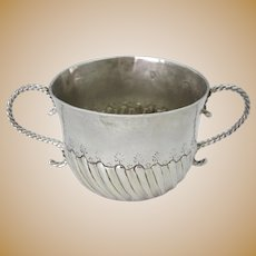 QUEEN ANNE Porringer Cup John Elston Exeter C1707 BRITTANIA Standard Silver .958