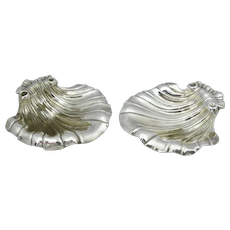 George III London 1819 STERLING Silver SHELL Footed Dish Set Emes & Barnard