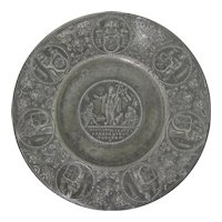17th Century German Pewter RESURRECTION Plate Touch Mark of Georg Seger 1600s