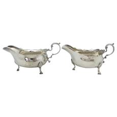 George III STERLING Silver Antique Gravy Boat Set Newcastle 1773 John Langlands