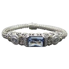 JOHN HARDY Sterling Silver 18k White Gold Mystic Blue TOPAZ Batu Sari Bracelet