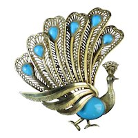 Vintage 14k Yellow Gold FILIGREE Persian TURQUOISE Peacock Brooch Pin