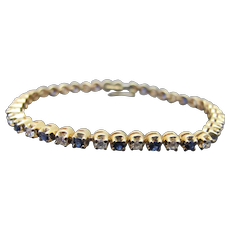 Alternating Blue SAPPHIRE & Diamond 14k Yellow Elegant Tennis Bracelet