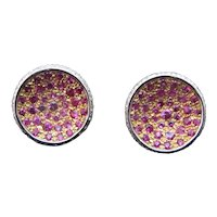 Pave Diamond Red RUBY Modernist 18k Gold ROUND Post Omega Back Earrings