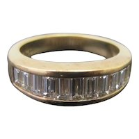 EMERALD Cut Diamond CHANNEL Set 18k Yellow Gold Wedding Engagement Band Ring 5.5