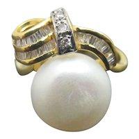 SWEET Vintage South Sea PEARL & DIAMOND 14k Yellow Gold BOW Ribbon Ring 6