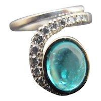 RESERVED for DENISE Diamond & Vibrant Blue Zircon Platinum Gold Snake Charmer Ring 6.75