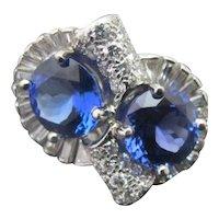 Vintage ART DECO Bright Blue TANZANITE Diamond PLATINUM Anniversary Knot Ring