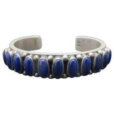 Navajo DEAN BROWN Engraved Sterling Silver Blue LAPIS Cuff Bracelet