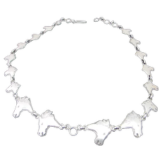 Vintage STERLING Silver HORSE Head Link Necklace