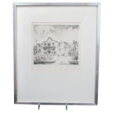 The ALAMO Vintage Etching Willie Reed ROWE Texas NEW ORLEANS Edition of 100