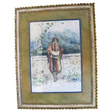 CASIMIRO TOMBA 1857-1929 Framed Watercolor Painting Man Reading Newspaper