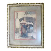 CASIMIRO TOMBA 1857-1929 Framed Watercolor Painting Woman in Native Dress