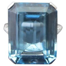 PLATINUM 15.37ct Aquamarine & Diamond Emerald Step Cut COCKTAIL Ring