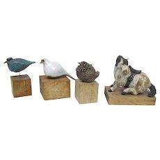 Vintage Mid Century Ceramic ANIMAL Birds Horse Sculpture Figurines on Wood Stand
