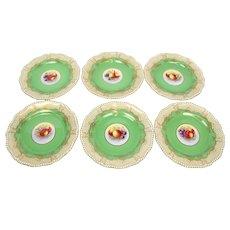 Vintage ROYAL WORCESTER Handpainted Green Gilt FRUIT Center Cabinet Plate Set