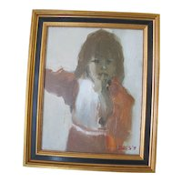 PORTRAIT of Young Girl Washington Artist Bill Evans 1975 Painting of DAUGHTER