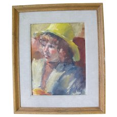 Signed Framed Vintage PORTRAIT Oil Painting of Young Girl in Yellow Hat