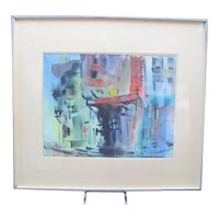 MID-CENTURY Manfred Lindenberger Chinatown #2 ABSTRACT Watercolor Painting