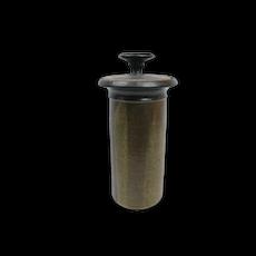 Vintage Tall Mid Century Modern Lidded Cylinder STUDIO POTTERY Jar Vase
